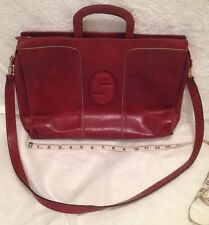 SERENA Vintage Woman's Leather Briefcase Made In Italy Shoulder Bag Distressed
