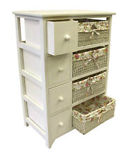 White Chest of Drawers Shabby Chic Wicker Baskets Storage Unit Pink Bedroom