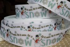 25mm Christmas Snowman Grosgrain Ribbon. Let it snow Gift / cake wrap, Craft