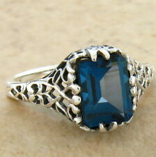 GENUINE LONDON BLUE TOPAZ ANTIQUE DESIGN 925 STERLING SILVER RING SIZE 9,  #687