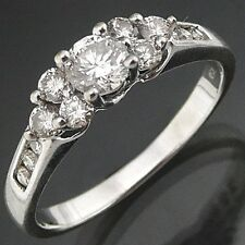 Lively 18k WHITE GOLD DIAMOND ENGAGEMENT DRESS RING cluster solid Val=$2910 Sz S