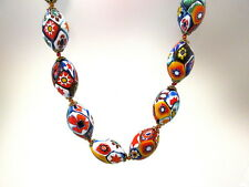 GORGEOUS VTG. MURANO MILLEFIORI GLASS BEAD NECKLACE