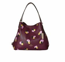 New NWT Coach Edie Shoulder Bag 31 in Floral Print Leather Plum 37160