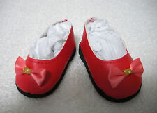 """Fits 18"""" Kidz 'n' Cats Doll - Red Bow Slip-On Shoes - D1393"""