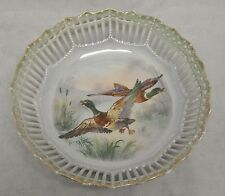 Antique Germany Porcelain Painted Ducks Dish Reticulated Pierced Edge
