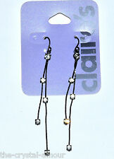 CLAIRE'S, BLACK CRYSTAL AND SNAKE CHAIN LONG DROP EARRINGS