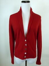 JOHN LAING SCOTLAND DEEP RED 100% CASHMERE SHAWL CARDIGAN SWEATER M EXCELLENT