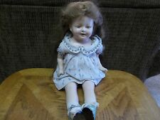 COMPOSITION DOLL OPEN MOUTH WITH TEETH,BLUE SLEEP EYES BROWN HAIR 1940's
