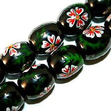 MAGNETIC HEMATITE PAINTED BEADS WHITE FLOWER CP3 STRANDS
