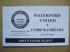 Partido de fútbol billetes: 2002 Waterford United v Cobh Ramblers, 26 Sept