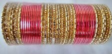 Indian ethnic Bollywood 48pcs carrot Colored Bridal Bangles Set Jewelry 2.6