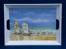 Charles Keller Kathleen Denis Seaside Beach Chair Ocean Melamine Tray 20""