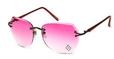 Women Retro Sunglasses Rhinestone Diamond Shaped Pink Rimless Faceted