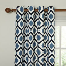 "JOHN LEWIS Indah Lined Eyelet Top Curtains-Indian Blue-90"" x 72""/228cm x 182cm"