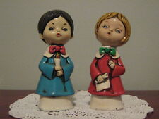 "Vintage Christmas Carolers Boy& Girl Figurines Hand Painted 6""H Made in Japan"