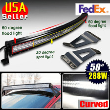 Curved 288W 50inch Spot Flood LED Light Bar Offroad+Mount Brackets for Chevy GMC