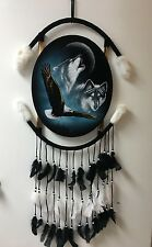 """EAGLE & WOLFS OVAL VELVET PAINTING , 44"""" BY 21"""" , HAND PAINTED MANDALA , SIGNED"""