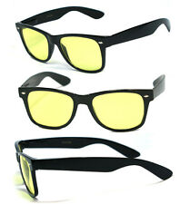 Retro Wayfarer Night Driving Spring Temple Yellow Lens Vision Sun Glasses 417ND