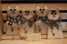 4 Grungy Stuffed Primitive Muslin CAT Ornies Fillers Tucks & Hang Tag Folk Art