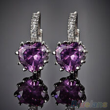 New Lady Casual 18K White Gold Plated Purple Heart Rhinestone Leverback Earrings