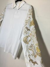 =LUXURIOUS= VIVETTA White Chinese Gold Tiger Floral Embroidered Shirt Blouse US8