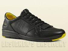 GUCCI Mens 10.5G* black leather Yellow trim BRAVA fringed sneakers NIB Authentic
