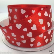 per metre Valentines satin heart ribbon red with white hearts 25mm Berisfords