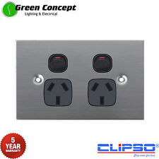 NEW Flat Solid Stainless Steel Double Power Point GPO Socket Black Powerpoint