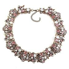 BEAUTIFUL ZARA PINK CLEAR STONES COLLAR STATEMENT NECKLACE – NEW