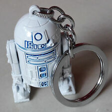 New Star Wars Series R2D2 3D Metal Keychain Keyring Pendant White Blue
