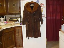 leather full length coat cow hide with lamb collar size small?