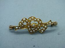 Late Victorian 15ct Gold (tested) Pearl Set 'Lover Heart' Ribbon Brooch c1895