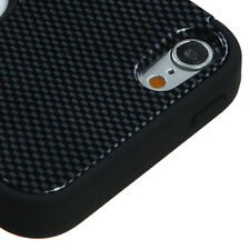 iPod Touch 5th & 6th Gen - HARD&SOFT RUBBER HIGH IMPACT CASE BLACK CARBON FIBER