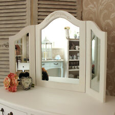 White wooden triple dressing table mirror shabby French chic bedroom furniture