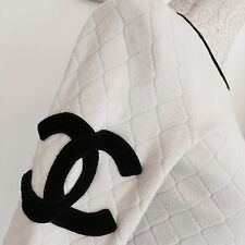 Authentic Chanel Quilted White Black Monogram CC Jumper Small 8 10 Ladies