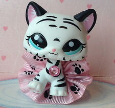 ~❤️Littlest Pet Shop #1498 White Black TIGER CAT❤️DESTINY❤️ paw print skirt❤️~