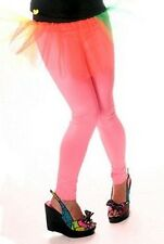 Death Kitty Neon/UV Glow Pink Leggings Dance/Hen Do/80s/Cyber/Goth/Punk Sz Small