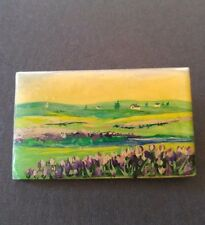 VTG Pin brooch laminated Wood hand painted pastoral scene ARTISAN unique