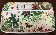 RARE Vintage GUCCI Iconic Flora Flower Pattern White Canvas & Leather Clutch Bag