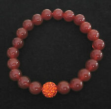 Natural RED AGATE gemstone and Orange crystal paved ball elastic bracelet
