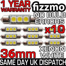 10x 3 Led Smd 36mm 239 272 Canbus Senza Errore Luminoso Bianco Luce Targa