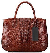 new women real genuine Leather Crocodile Embossed Print Satchel Tote Handbags