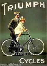 Triumph Cycle  Bicycle Advertising Father with Girl Poster 1910s Antique Ad