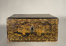 Antique Chinese Lacquered Box Tea Caddy Pewter Insert 19th Century