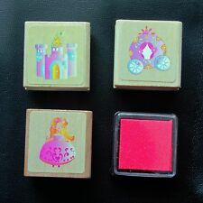 Cute Cinderella Princess and Castle Rubber Stamp Set with Ink Pad