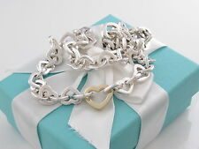 Tiffany & Co Silver 18K Gold Heart Link Necklace Box Pouch Ribbon Packaging