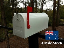 US style LETTERBOX MAIL BOX AMERICAN MAILBOX INDICATOR WHITE NEW STEEL RED FLAG