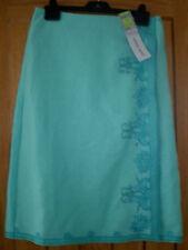 Marks & Spencer M & S Light Aqua Linen Wrap Skirt Embroidery Beads 12 £39.50 New