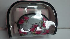 Victoria's Secret Pink Stripes Flower Clear Cosmetic Bag Trio Set