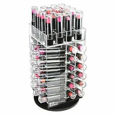 64 Lipstick Tower Acrylic Organizer Rotating Makeup Case Cosmetic Holder Rack